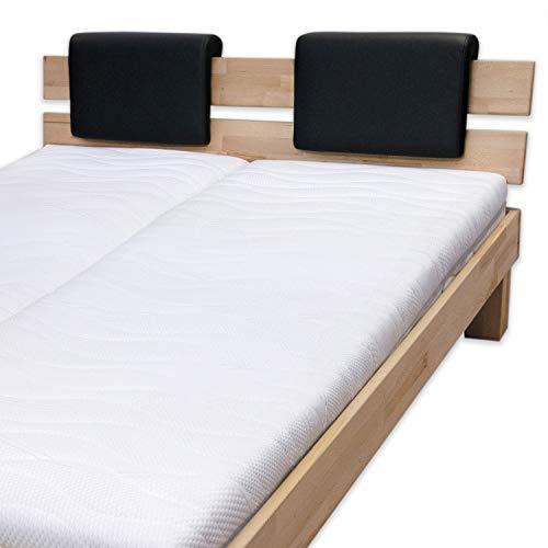 Bubema Polster-Steckkissen für Bettkopfteil, 2er-Set,für viele gängige Betten, 6 versch. Farben Farbe Grau