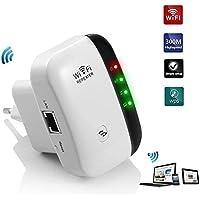 300Mbps Repetidor WiFi Repetidor de señal WiFi Mini N300 Extensor de Red Amplificador inalámbrico de Largo Alcance Modo Repeater y Punto Acceso, 2.4GHz,Puerto LAN,WPS, 802.11 b/g/n,Fácil de Instalar