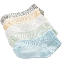 Calcetines Bebé Calcetines Finos Niños Niñas De Línea Algodón Cómodo Lindo Respirable Malla Primavera Verano Varios Colores 0-12 Meses ( Pack de 5 Pares)