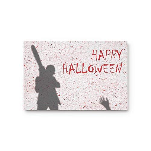 LIS HOME Benutzerdefinierte Fußmatte Happy Halloween, Kettensägen-Mörder rutschfeste Gummi-Eingangsteppiche Badezimmer-Badematte -