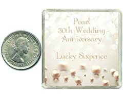 Idea Regalo - Lucky Sixpence Coin for a Pearl 30th Wedding Anniversary & Traditional Thoughtful Keepsake Gift idea. Parents, Mum, Dad, Son, Daughter, Grandparents by Oaktree Gifts