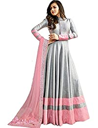 Monika Silk Mill Women's Latest Grey Color Embroidered Festival Collection Wedding Collection Party Wear Gown...