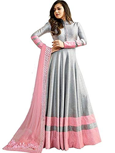 Monika Silk Mill Women\'s Latest Grey Color Embroidered Festival Collection Wedding Collection Party wear Gown Style Anarkali Salwar Suit Dress Materials
