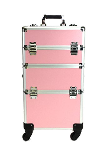 Trolley make up trousse TRASFORMABILE 2 in 1 trucco makeup beauty case valigia (Rosa)