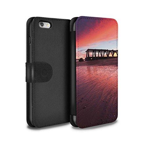 Stuff4 Coque/Etui/Housse Cuir PU Case/Cover pour Apple iPhone 6 / Jetée Design / Bord Mer Anglaise Collection Soleil Couchant