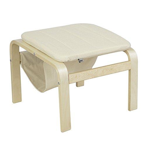 SoBuy® FST52-W Fußhocker mit Magazinhalter, Hocker zum Abstützen der Füße, Fußablage für Relaxsessel, beige, BHT ca:51x42x50 cm