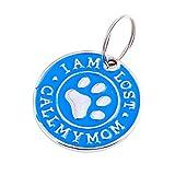 EUCoo Hundehalsband AnhäNger Hundemarke Nette Mini Diamant Pfote D Namensschild Haustier Halskette SchlüSsel Schmuck(Blau)