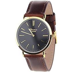 Men's Geneva Japanese Movement Stainless Steel Back Genuine Leather Strap Watch - Brown/Black