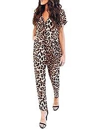 a6af1a17a6948 Mono Mujer Fiesta Elegante Mono Corto De Manga Corta con Cuello En V Y  Estampado Leopardo Verano