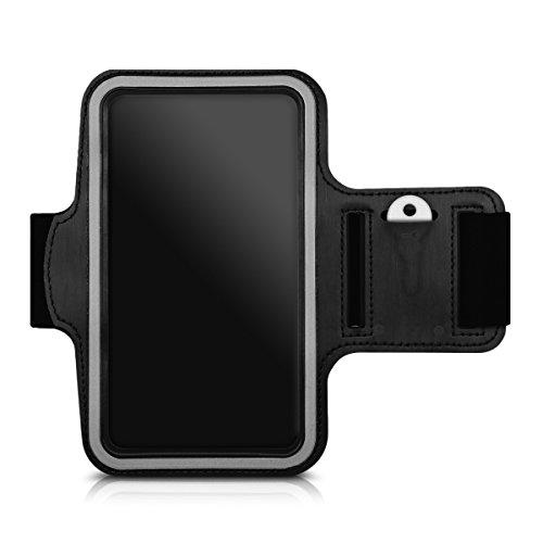 kwmobile Sport Armband für Smartphones - Jogging Lauf Sporttasche Fitnessband mit Schlüsselfach im Sportarmband in Schwarz - z.B. geeignet für Samsung, Apple, Wiko, Huawei (Samsung Note 2 Sport Armband)
