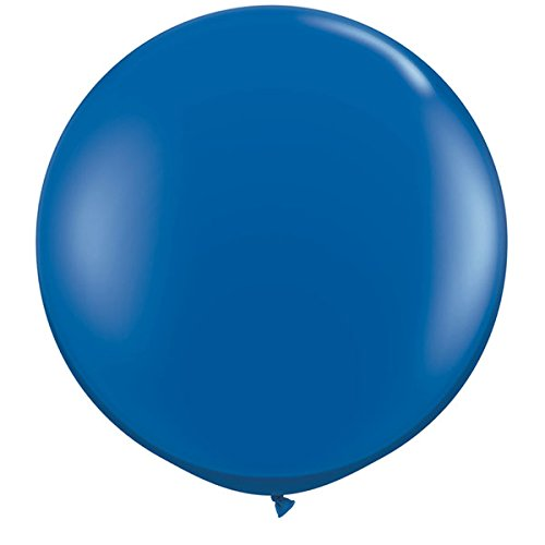 Qualatex rund Latex GIANT Ballon (2 Stück), 3 ', Saphir Blau (36 Runde Luftballons)