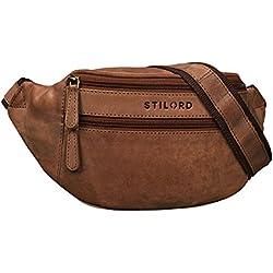 STILORD 'Marian' Vintage riñonera de piel unisex para hombres mujeres bolso de cadera bolso de cinto para festival fiesta deporte viaje de cuero auténtico, Color:marrón