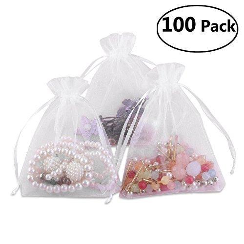 1013cm Organza Geschenktaschen mit Kordel, Hochzeit Favor Taschen (weiß) ()