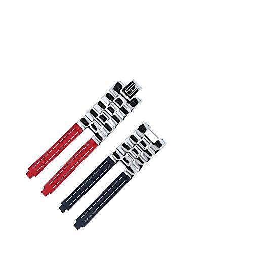 TOMMY HILFIGER Uhrenarmband 19mm Leder Edelstahl Rot/Blau - Gehäusenummer TH.F80132 - Passend Für Uhrenmodell 1780068, Schließe Silber