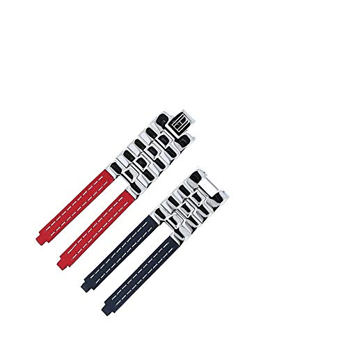 TOMMY HILFIGER Uhrenarmband 19mm Leder Edelstahl Rot/Blau - Gehäusenummer TH.F80132 - Passend Für Uh
