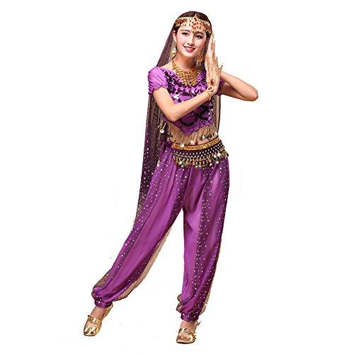 Kostüme Bilder Toga (Tanz Outfits Tanzkleidung Bauchtanz Kostüm Set Stammes- Indischer Tanz Bra Top & Paillette Bauchtanz Hose Münzen)
