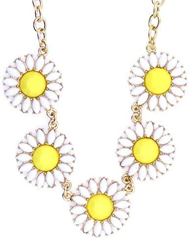 lizzyoftheflowers–lizzyoftheflowers. Retro Style weiß Daisy/Sonnenblume Blume Kette Halskette Daisy Und Sonnenblume