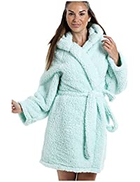 4ad0f0f519 Camille Luxurious Lightweight Soft Fluffy Fleece Mint Hooded Dressing Gown