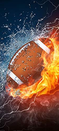 Bilderdepot24 Türtapete selbstklebend Football - Feuer und EIS 90 x 200 cm - einteilig Türaufkleber Türfolie Türposter - Sport American Football Field Goal Touchdown NFL Yard Play-Offs Superbowl