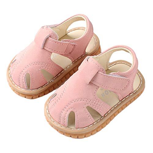 Vivitoch Baby-Sandalen aus Kunstleder für Jungen und Mädchen, Sommer-Sandalen, Gummisohle, flacher Fuß, für Kleinkinder, Prewalker, geschlossene Zehen, 0-2T 18 rose