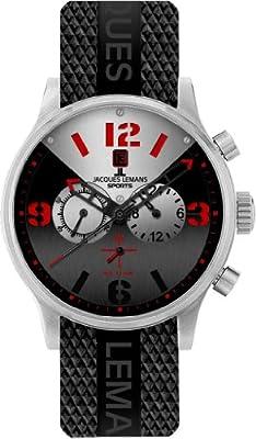 Jacques Lemans 1-1668B - Reloj cronógrafo de cuarzo para hombre, correa de plástico color negro (cronómetro) de Jacques Lemans