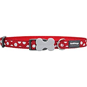 Red Dingo Patterned Dog Collar, S, 12 mm, Neck Size 20 - 32 cm, Red/ White Spots