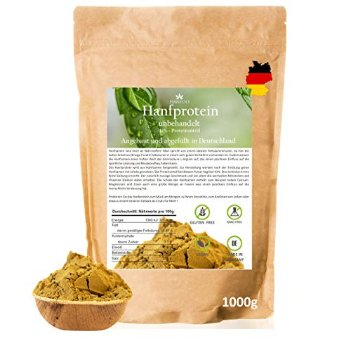 Hanfprotein-Pulver aus Deutschland 1000g - Hanfsamenprotein - Veganes Proteinpulver aus Nutzhanf glutenfrei - Ideal zum Backen als glutenfreies Mehl - Geerntet in Deutschland, ohne Zusätze