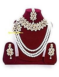 Apsara Art Jewellery Tradtional Gold Plated kundan Style ranihar Multi Layer Jewelley Combo Set