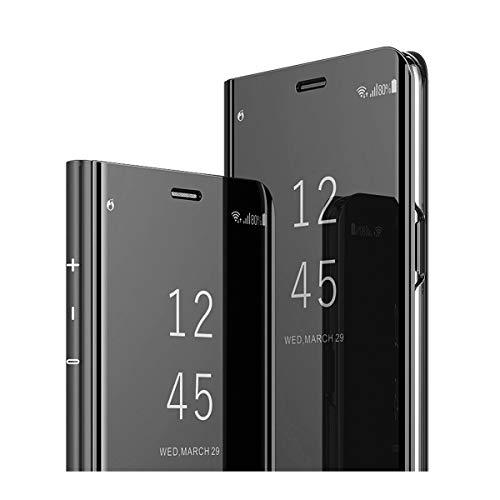 Kompatibel Huawei Maimang 6/Mate10 lite,Handyhülle PU Leder Flip Clear View Schutzhülle Hart für Mata10 pro Case Cover Ständer-Funktion Spiegeln Standfunktion Mirror (Mate 10 pro, Schwarz) (Glitzer Protective Screen)