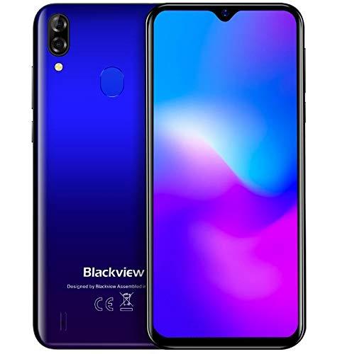 (2019) Blackview A60 Pro Android 9.0 4G teléfono móvil Libre, 6.1' Pantalla FullView Dual SIM Smartphone, Helio A22 MTK6761 Quad Core 2.0GHz 3GB+16GB, 4080mAh batería, desbloqueo Facial, GPS Azul