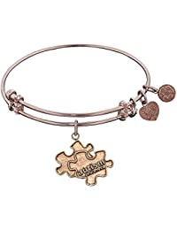 JewelryWeb Antique Pink Smooth Finish Brass Generation Rescue Autism Angelica Bangle Bracelet