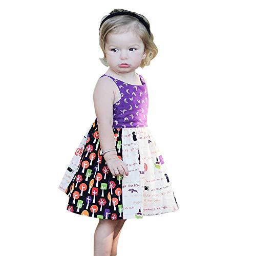 Baby Mädchen Blumen Gedruckt Sommer Ärmellos Outfits Süss Kleid Sätze Girls Dress ()