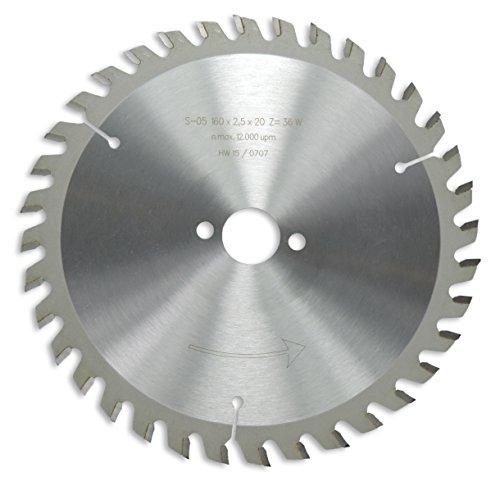 HM / HW Sägeblatt mit Nebenlöchern und Wechselzahn 160 x 20 mm mit 36 Zähnen Made in Germany (OR11)