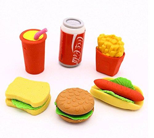 Heißklebestifte 3D Learning Bleistift Radiergummi Fast Food Thema Burger Getränke Kaffee Sandwich Kuchen Gebäck Bleistift Radiergummi Set Kids Party Bag Füllstoffe Neuheit Stil 1