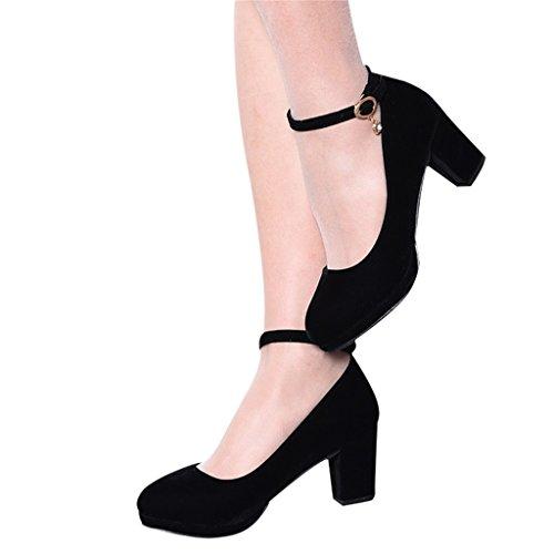 Aluk- europa e stati uniti - temperamento basso bocca temperato con scarpe da donna nere (con alta 6cm) ( colore : nero , dimensioni : 35 )