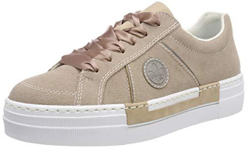 Rieker Damen N49D0-32 Obermaterial Leder Sneaker, Rot (Bouchara/Grey 32), 38 EU
