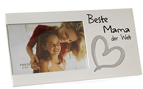 Bada Bing Bilderrahmen Fotorahmen Beste Mama der Welt 25 x 13 Herz Liebe Weiß Edel Geschenk Muttertag 92
