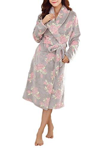 Damen Luxus Flanell Pyjama Soft Warm Gemütliche Dusche Robe Erwachsene Schal Halsband Paar Kleid Bademantel,Grey-M (Flanell-schal)
