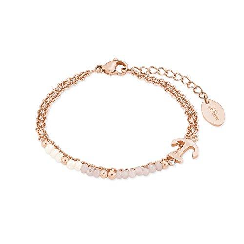 s.Oliver Damen-Armband aus Edelstahl mit IP Rose Beschichtung, Anker-Anhänger und Glassteine in rosa