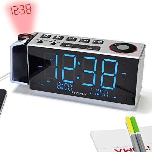 Projektionswecker, iTOMA FM-Dual Alarm-Radiowecker, USB-Aufladung, Digital-FM-Radio, Nachtlicht, 1,8 Ice Blue-LED-Anzeige, Auto/Manual Dimmer (CKS509)