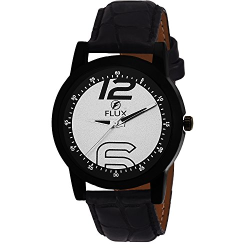Flux Fashion Analog Black leather Strap Black and Silver Dial Men's Watch-WCH-FX278  available at amazon for Rs.79