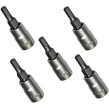 """AERZETIX: Juego de 5 destornillador bits Allen 4mm y soporte de bit 1/4"""" C2072"""