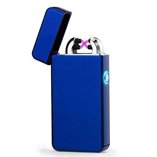 USB Elektronisches Feuerzeug Dual Lichtbogen Aufladbar Winddicht (Blau)