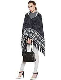 Cayman Navy-blue & Off-white Patterned Reversible Acrylic Wool Poncho Sweater