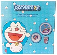 Doraemon Kids Multicolor Dinner Set with Plate Bowl and Glass