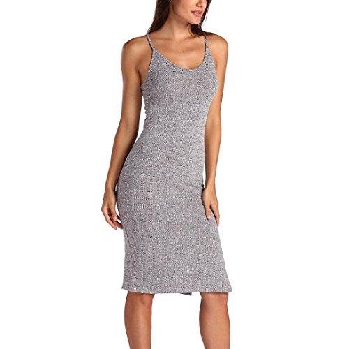 Xinxinyu Damen Kleid, Lässig { Ärmellos Sommerkleid } { Rippe Stricken Sundress} Lady { Teilt Schlank Kleid } (grau, L)