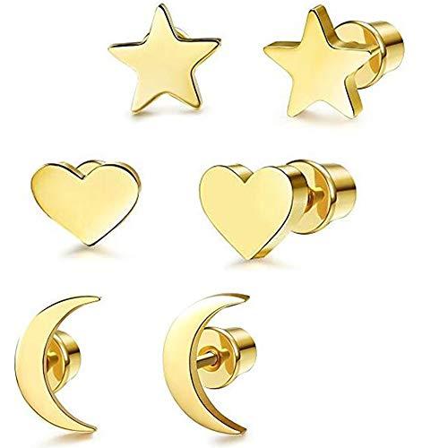 Ohrringe Damen Ohrstecker 3 Paare Edelstahl ohrschmuck Mond Sterne und Herzen Gold Ohrringe für Frauen Herren Mädchen