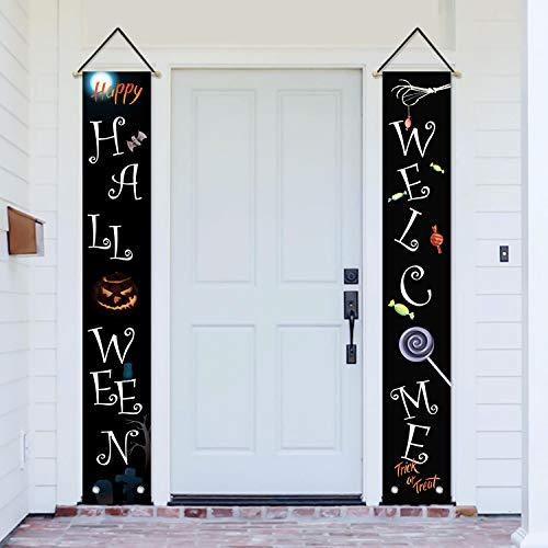AVOIN Happy Halloween Veranda, Schild Welcome-Zitat, Kürbis-Laterne, Trick or Treat Candy Hanging Banner Flag for Hard Indoor Outdoor Party 30,48 x 182,9 cm