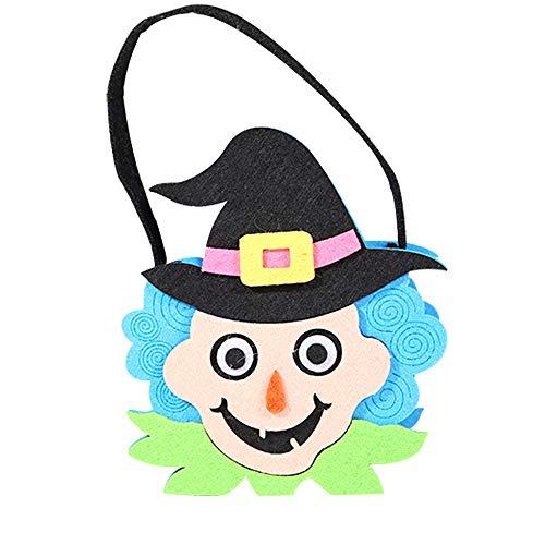 (OverDose Damen Halloween Nette Hexen Süßigkeitstasche Verpackung Kinder Party Home Tragbare Aufbewahrungstasche Geschenk)