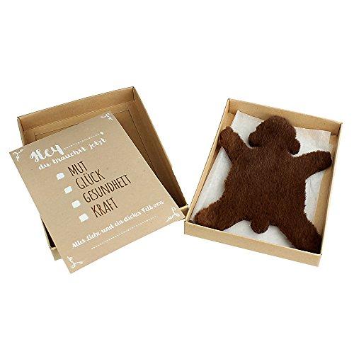 """Casa Vivente Dickes Fell – """"Braunbär"""" – aus braunem Stoff in Geschenkbox mit Grußkarte – Glücksbringer und Trost bei Stress, Krankheit und Liebeskummer – Geschenk für Mama oder Freundin …"""